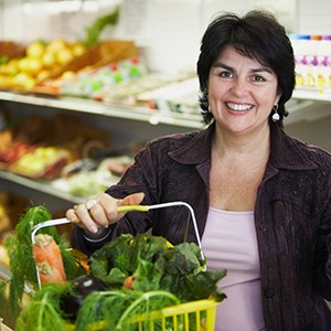 woman shopping for fresh produce in the supermarket