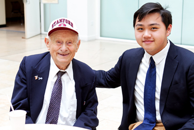 Cantor Henry Drejer and Leon Tsai at a Yom HaShoah Commemoration in San Francisco