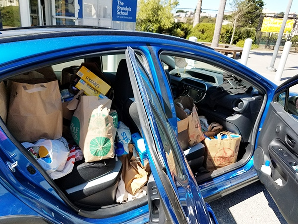 Brandeis families have donated over 400 pounds of food to JFCS' Food Bank.