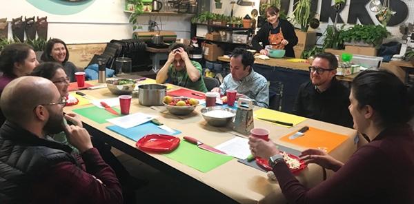 Heather and Shupin Club members making jams and jellies